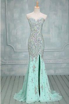 Simple Dress Handmade Mermaid Sparkle Sweetheart Side Slit Long Chiffon Prom Dresses/Evening Dresses CHPD-7042