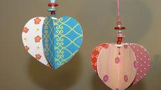 Valentin nap/Bálint nap-Papír szív függő dekoráció