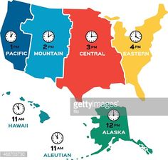 united states time zone flat design concept map each time zone is shown in a