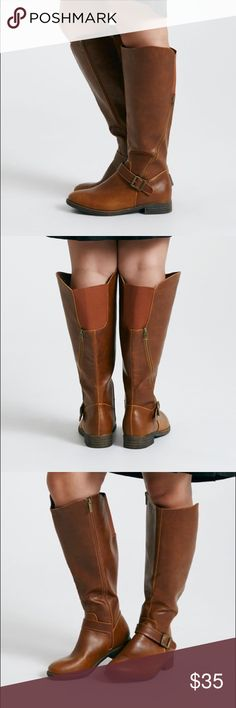 Nwt 8 plus size brown Wide Calf boots Gorgeous brown new with tags never worn (no box) Wide Calf boots. Stretch panel for easy accommodation. 17+ Calf ... faux leather . Asymmetrical zipper detail. Perfect spring staple . Size 8 Shoes Combat & Moto Boots
