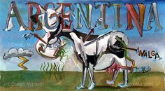 """vaca argentina cubista"", acrylic on canvas, 45 x 100 cm. . By Diego Manuel"