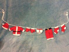 KNITTING PATTERN - Cute Father Christmas / Santa washing line decoration  #Unbranded