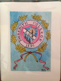 Meredith College Seal by IndigoHome on Etsy, $22.50
