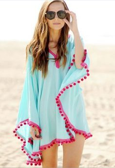 Blue Pom Trim Bat Cape Beach Cover-Up