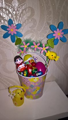 easter bucket packet with easter treats with easter flower deely bopper headband! ideal easter gift! by PetitechicboutiqueGB on Etsy