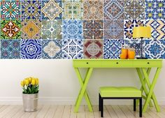 Amazon.com: Backsplash Tile Stickers 24 PC Set Traditional Talavera Tiles Stickers Bathroom & Kitchen Tile Decals Easy to Apply Just Peel and Stick Home Decor 4x4 Inch (Backslash Peel and Stick C): Home & Kitchen