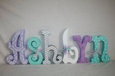 Custom wood letters, Nursery decor, 15.00 per letter, Purple and teal decor, Freestanding wood letters, Purple damask decor, Name sign