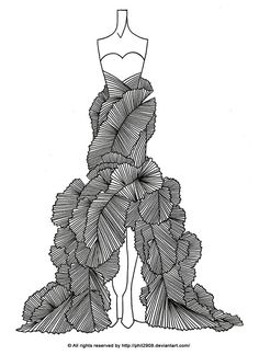 04 by anotherphilip on DeviantArt Fashion Lineart. Dress Design Drawing, Dress Design Sketches, Fashion Design Sketchbook, Fashion Design Drawings, Fashion Sketches, Fashion Drawing Dresses, Fashion Illustration Dresses, Fashion Figures, Mannequin