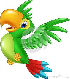 Voo feliz do papagaio dos desenhos animados