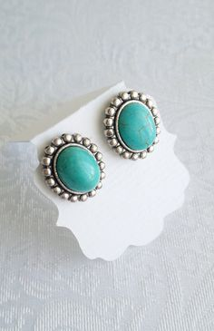 Turquoise earrings - Stud earrings - Oval post Earrings - Antique silver turquoise earrings - victorian style - Vintage style - gift for her