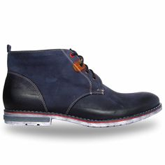Men shoes in dark blue color. Interesting and stylish design!