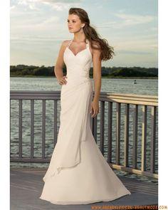 2012 Romantische lange Brautkleider im Meerjungfraustil aus Chiffon für Strandhochzeit