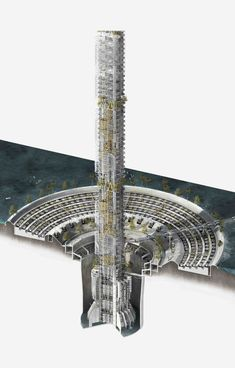 ''The Plastic converting tower'' by Ché Caines is a Masters degree design project for a conceptual proposal of a plastic to liquid fuel converting tower. Green Architecture, Futuristic Architecture, Concept Architecture, Beautiful Architecture, Contemporary Architecture, Architecture Design, Croquis Architecture, Minimalist Architecture, Architecture Visualization