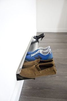 j-me Horizontal Shoe Rack - Wall Mounted Shoe Organizer Keeps Heels, Boots, Sneakers and Sandals Off The Floor. A Great Shoe Storage Solution for Your Entryway or Closet. Shoe Rack Organization, Shoe Organizer, Wall Storage Shelves, Shoe Storage Solutions, How To Store Shoes, Steel Sheet, Hanging Racks, Deco Design, Metal Furniture