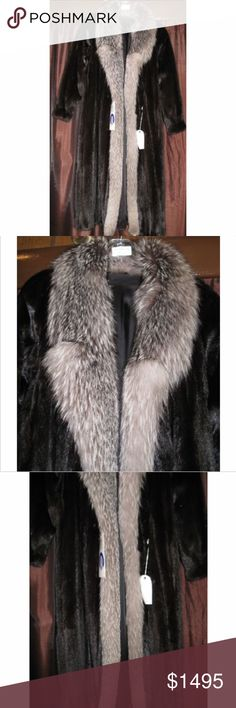 """Ranch Mink Fur Coat with Indigo Silver Fox Natural ranch dark brown letout mink 50""""coat with indigo silver fox tuxedo trim  Band gathered sleeve design  Sleeve length: 30""""  Size 10-12  Fur Origin - Mink - USA; Fox - Norway  EUC - original price $6000  All preowned coats have been professionally stored, cleaned, glazed, and conditioned by a furrier. A.J. Ugent Furs Jackets & Coats"""