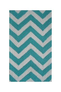 Chevron Rug - 16in. x 27in. - Turquoise/White