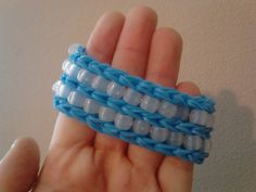 Blue Rainbow Loom Band Bracelet  With Glow In by rainbowfrogs77, $6.99