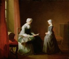 The Good Education, 1753 Oil On Canvas by Jean-Baptiste Simeon Chardin