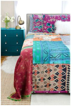 https://www.connectedgoods.com/Fair-Trade-Products/Kantha-Quilt-Queen-CQ57.html kantha quilts