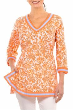 """Orange tunic with 3/4 sleeves and side slits.Looks great paired with white pants jeans or capris for a crisp summery look. Go casual with a pair of cut-offs or your favorite jeans & a pair of flip flops  Measures: 29"""" L  Coral Perfection Tunic by Gretchen Scott. Clothing - Tops - Tunics Hawaii"""