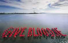 "World Blood Donor Day 2010 ""Giveblood"". Crowd installation, Sandymount Strand, Dublin, Ireland. Photo by Sean and Yvette Photography and ABGC. www.giveblood.ie"