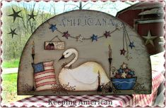 E PATTERN - Keeping American!  NEW! Americana, Swan, Stars - design by Terrye French, Painted by Sharon Bond.