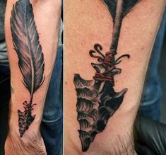 80 Arrowhead Tattoo Designs For Men - Ancient Weaponry Ink - Helpful Sharing Indian Tattoos For Men, Cherokee Indian Tattoos, Native American Tattoos, Feather Tattoo For Men, Indian Feather Tattoos, Tattoo Sleeve Filler, Sleeve Tattoos, Arrow Head Tattoos, Knife Tattoo