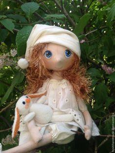 Коллекционные куклы ручной работы. Ярмарка Мастеров - ручная работа. Купить Кукла текстильная интерьерная. Авторская кукла. Кукла с зайкой.. Handmade.