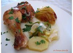 Muslos de pollo con patatas y manzanas