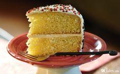 gluten free white cake on plate gfJules