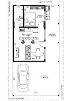 Área sem a garagem: 56,02m². Área com garagem para 2 carros: 89.77m² Residência de 1 dormitórios, 1 banheiro social, cozinha conjugada...