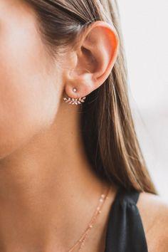 Double sided earrings Botanical earrings Dainty ear jacket earrings Ear jackets gold Olive green earrings Front back earrings