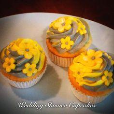Yellow and gray cupcakes  -www.twentyonecakes.com