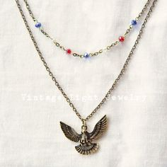 Soaring Bronze Color Eagle Patriotic Captain America Inspired Red White and Blue Glass Bead Layered Multistrand Necklace Multi Strand Necklace, Gold Necklace, Disney Inspired Jewelry, Vintage Fashion, Vintage Style, Vintage Lighting, Captain America, Glass Beads, Eagle