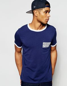 ASOS Muscle T-Shirt With Contrast Neck And Aztec Pocket