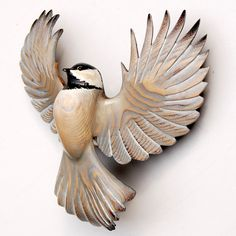 Chickadee wood sculpture woodcarving in Ash by Jason Tennant. $475.00, via Etsy.