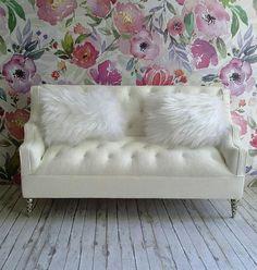 Dollhouse Sofa/12'' Doll Furniture/Living Room Set/UpholsteredFurniture/Barbie Doll House/Wooden Dollhouse/Doll House Furniture/Doll Bedroom