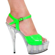 "Sexy 6"" High Heel Stiletto Sandal, Neon Green - Click TWICE on picture to see details and pricing. #thesexiestlingerie, #highheels #highheelsandal"