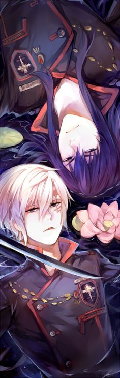 Tags: Anime, Lotus, Wet, D.Gray-man, Allen Walker, Yuu Kanda, Wet Hair