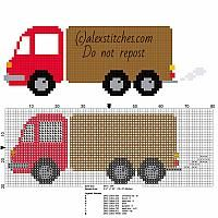 Red colored toy truck small and free cross stitch pattern