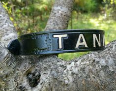 The Tank - Black & Brown Personalized Custom Leather Dog Collar with Barb Wire Border