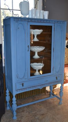 Annie Sloan Greek blue china cabinet. Vintage Glory,Chester CT