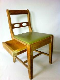 Mid century modern sewing machine chair with hidden storage drawer.     $59.99