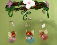 Flower fairy mobile with butterflies  felted от byNaturechild