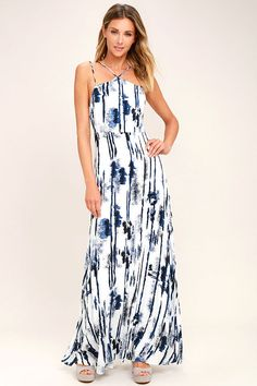 Lulus Exclusive! Watch the waves crash against the rocks in the Sea Me Now Blue and White Print Maxi Dress! Lightweight woven fabric, in a blue and white abstract print, falls from a modified halter neckline with two sets of straps, into a darted bodice. Fitted waist and flowy maxi skirt. Hidden back zipper.