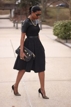 Beaute' J'adore: DIY Little Black and Leather Brocade Dress
