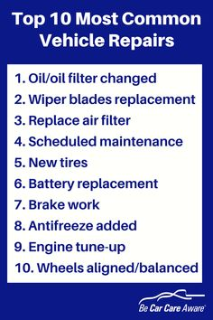 Top 10 Most Common Vehicle Repairs - Be Car Care Aware Car Repair Service, Auto Service, Vehicle Repair, Car Facts, Car Care Tips, Garage Repair, Scheduled Maintenance, Auto Maintenance, Driving Tips