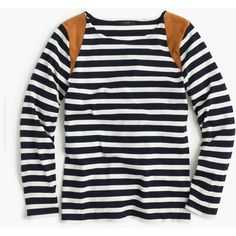 J.Crew Striped Suede-Shoulder T-Shirt (135 CAD) ❤ liked on Polyvore featuring tops, t-shirts, long sleeves, shirts, stripe t shirt, long sleeve t shirts, striped long sleeve tee, slim t shirt and long sleeve tee