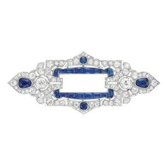 Platinum, Diamond and Sapphire Brooch, France  The fancy-shaped pierced rectangle flanked by a stylized trefoil motif, accented by 2 old-mine cut diamonds approximately .75 ct., set throughout with 60 old-mine cut diamonds approximately 2.50 cts., highlighted by 2 modified pear-shaped sapphires and 2 round and 16 rectangular-cut sapphires, signed Calligaris-Querio, Paris, with French assay mark, circa 1915