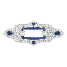 Platinum, Diamond And Sapphire Brooch - France   c.1915   -   Doyle New York